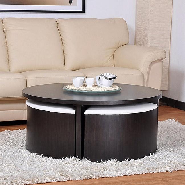 table basse ronde weng 4 poufs mobilier design d coration d 39 int rieur. Black Bedroom Furniture Sets. Home Design Ideas