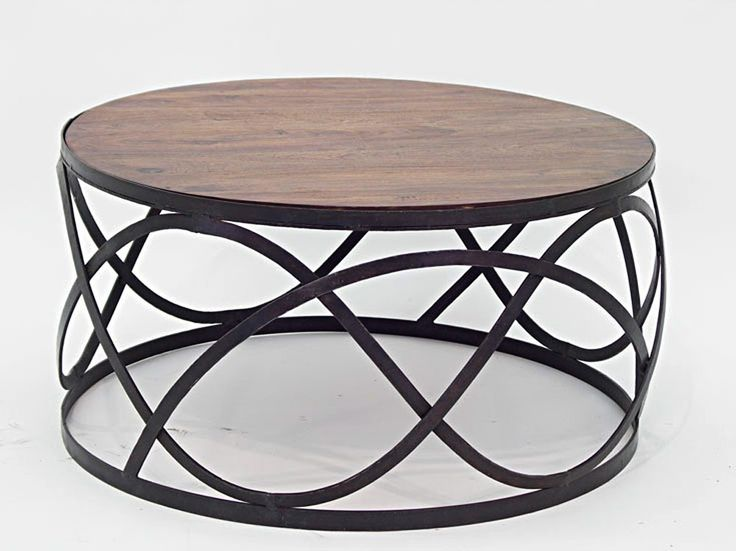 Table basse ronde bois fer forg mobilier design for Objet deco pour table de salon