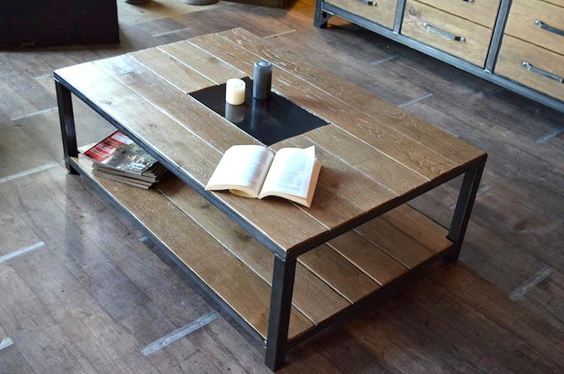 Table basse industrielle belgique mobilier design for Table design belgique