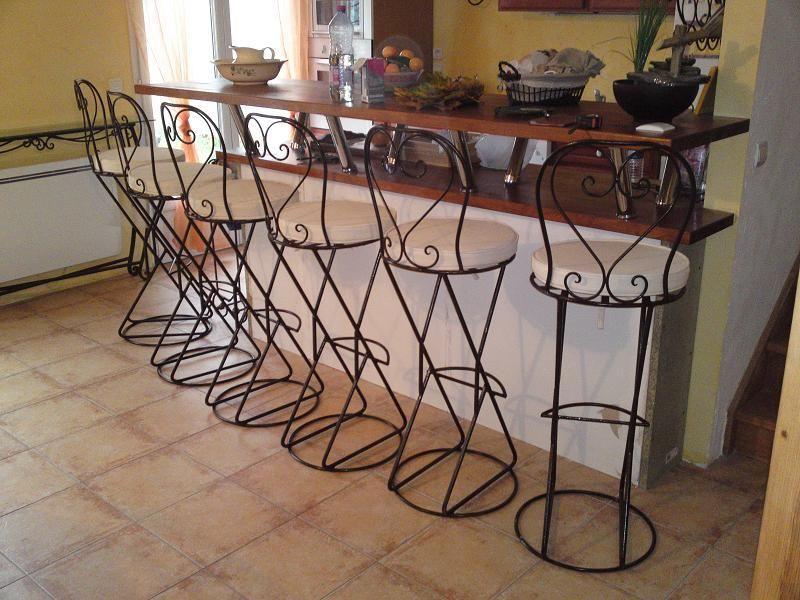 Tabouret de bar fer forg mobilier design d coration d - Chaise de bar en fer forge ...