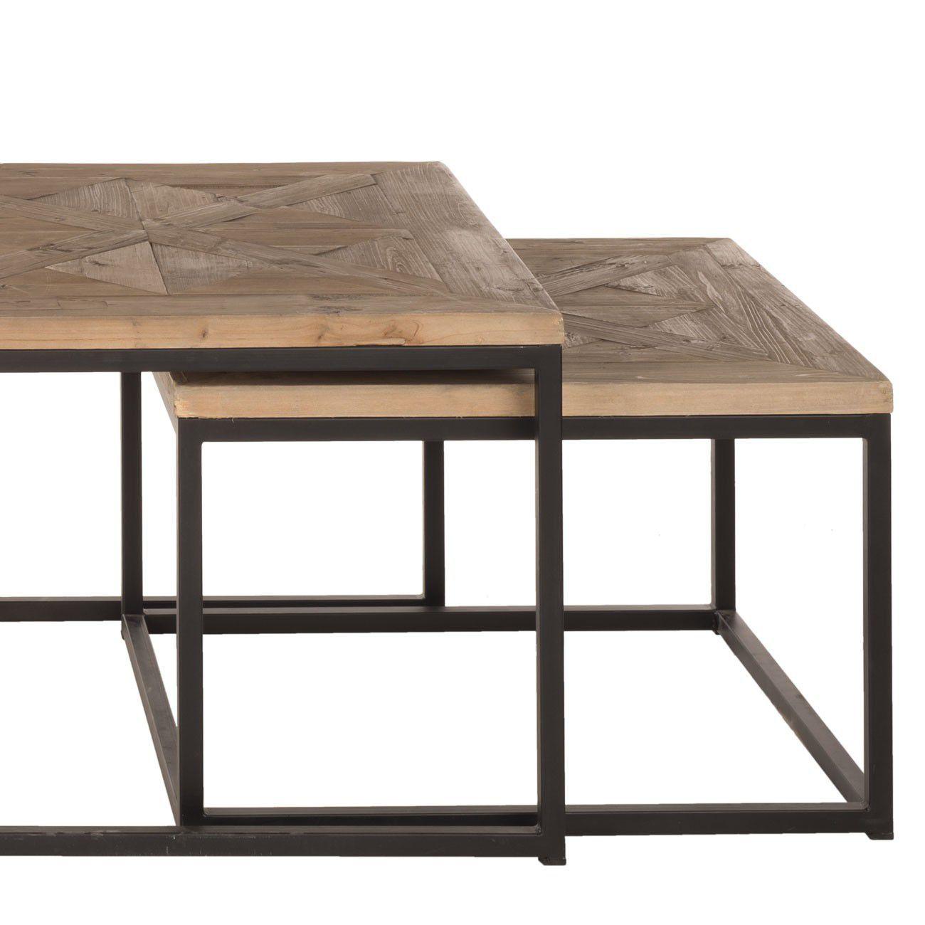 table basse gigogne bois metal. Black Bedroom Furniture Sets. Home Design Ideas