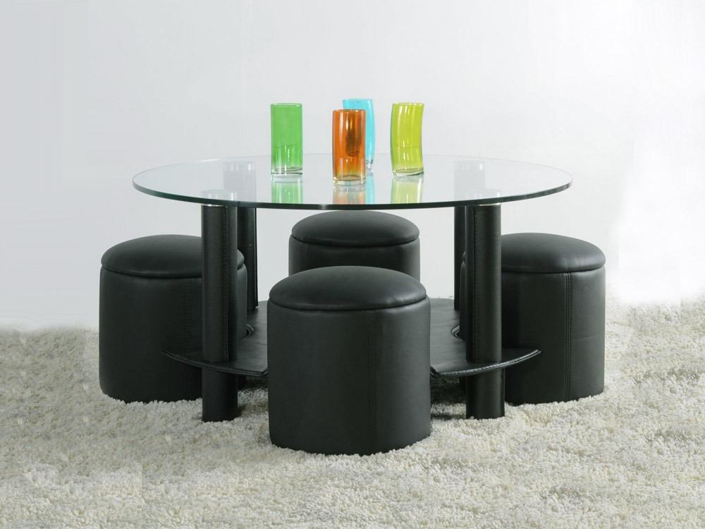 table basse en verre avec pouf pas cher mobilier design. Black Bedroom Furniture Sets. Home Design Ideas