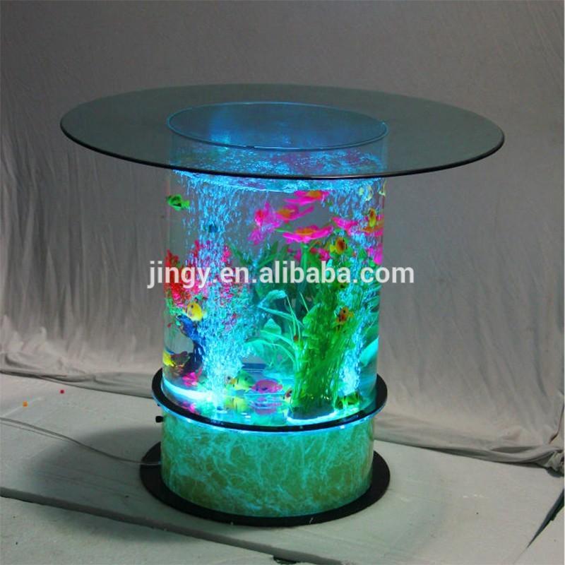 Table basse aquarium ronde - Mobilier design, décoration d\'intérieur