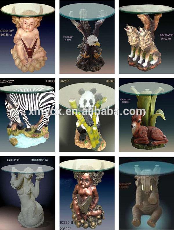 Table Basse En Verre Avec Statue Mobilier Design