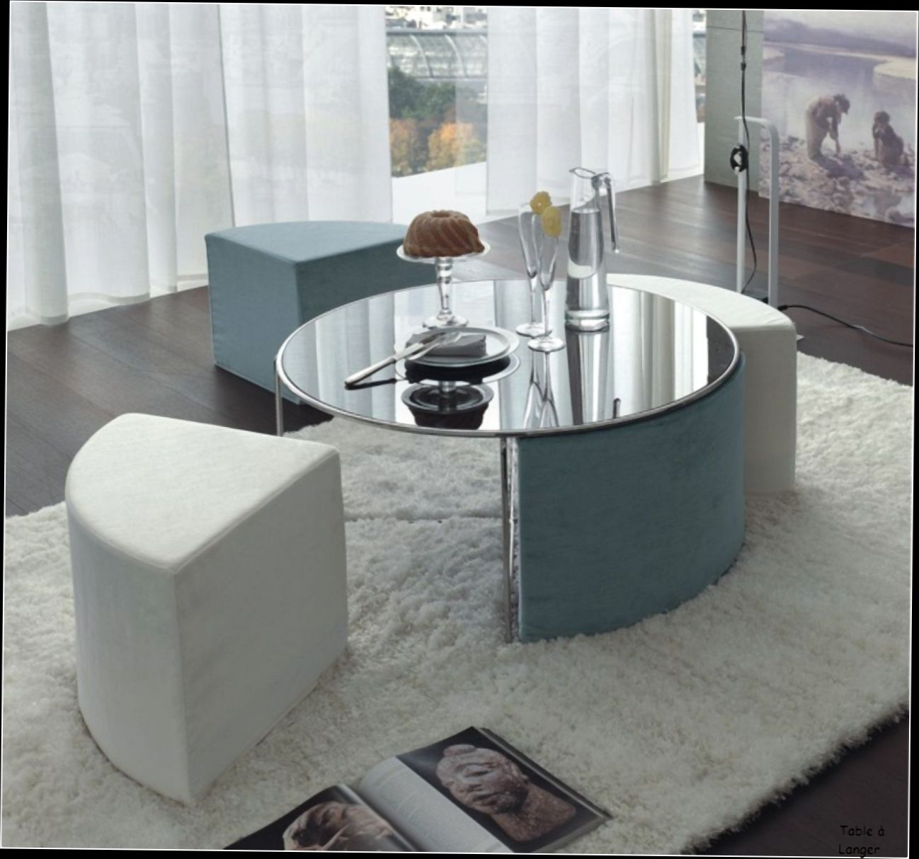 Table basse en verre plus pouf