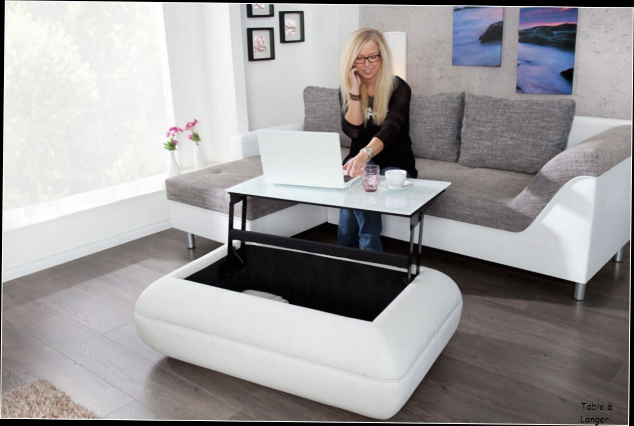 Table basse en verre relevable design