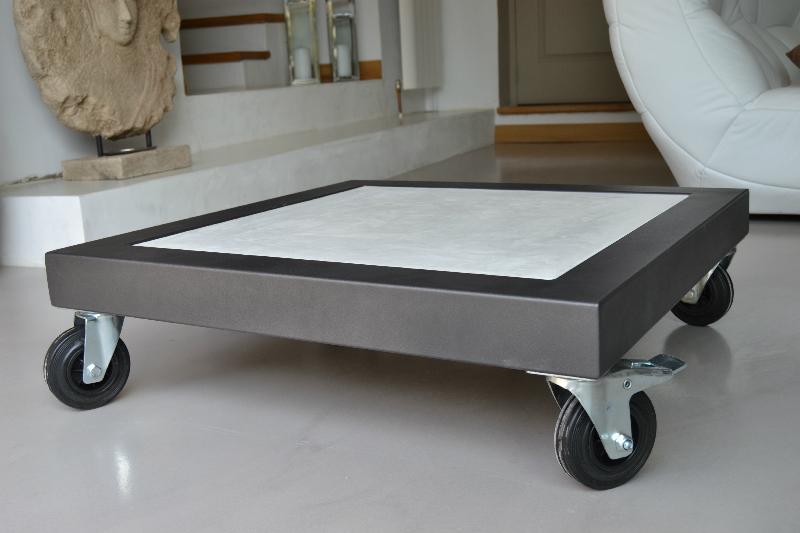 meilleur service eb120 81c82 Table basse verre roulette industrielle - Mobilier design ...