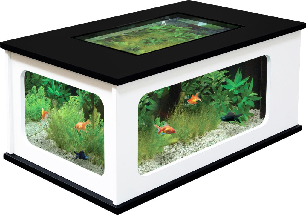 Table basse aquarium blanche