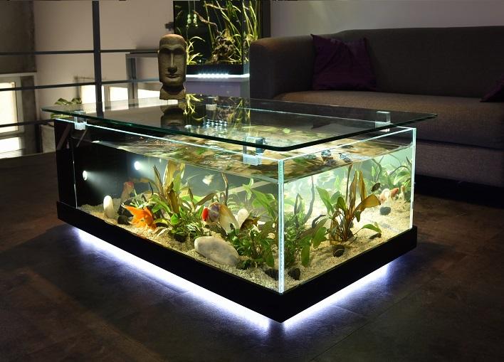 Table basse pour aquarium