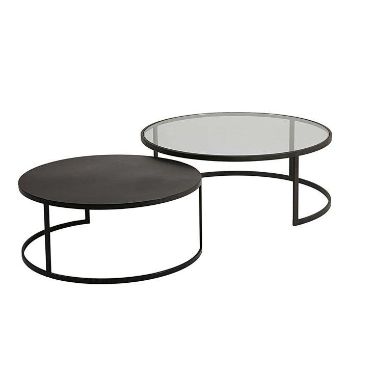 Table Basse Ronde En Verre Noir Idée De Maison Et Déco