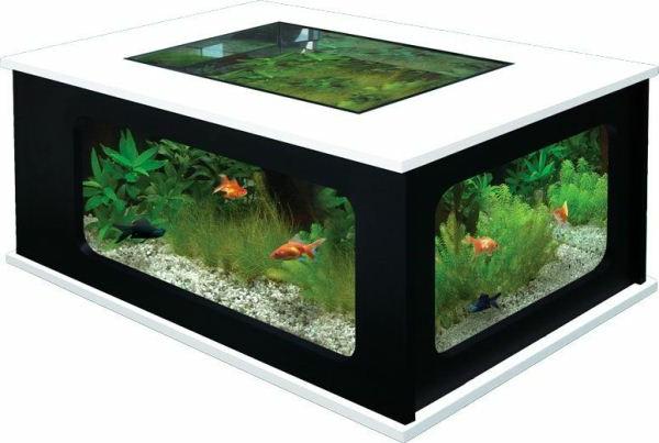 Table basse aquarium noir
