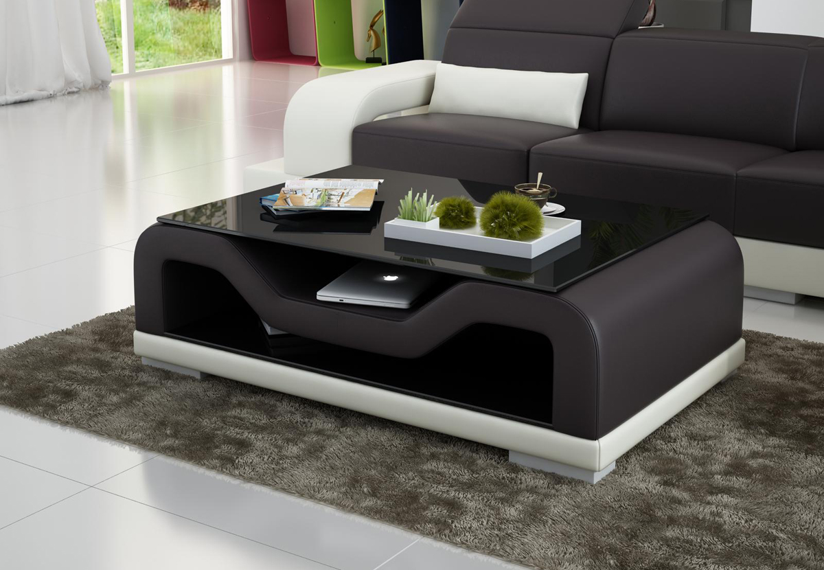 Table basse cuir pas cher mobilier design d coration d 39 int rieur Table basse pas cher design