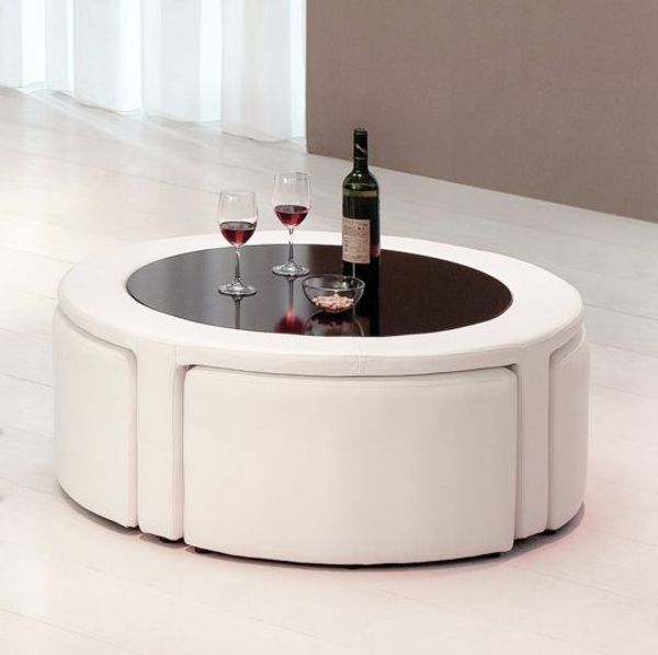 Table basse ronde pouf