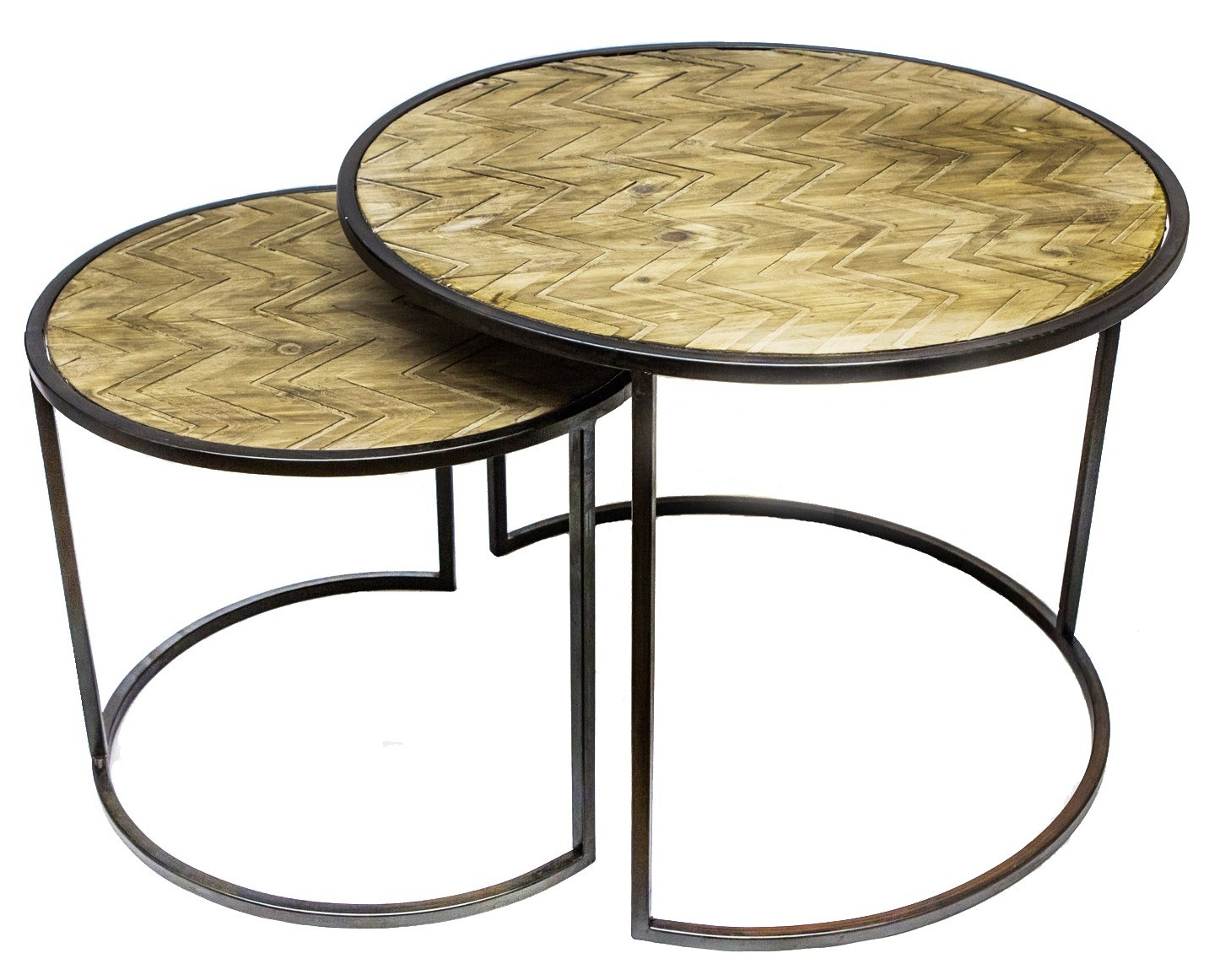 Table basse gigogne ronde noire mobilier design for Table basse gigogne ronde bois