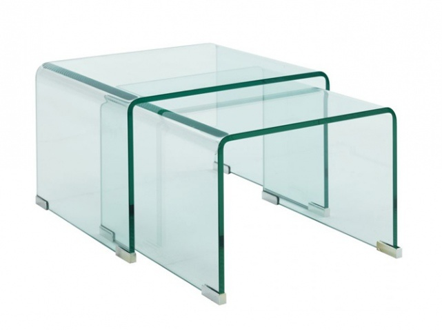 Table basse gigogne verre fly