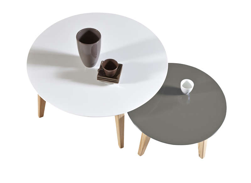 Table basse gigogne blanche grise