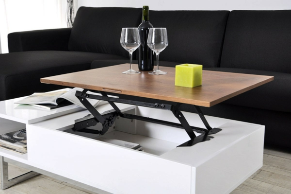 Table basse industrielle plateau relevable