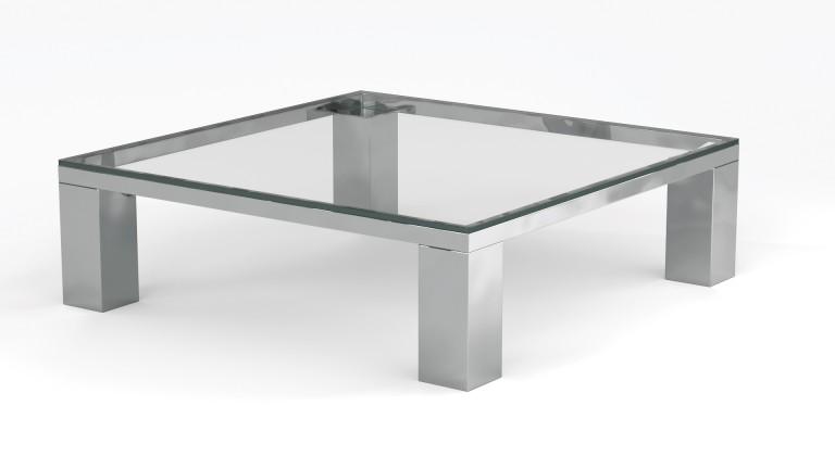 Table basse en verre pieds metal