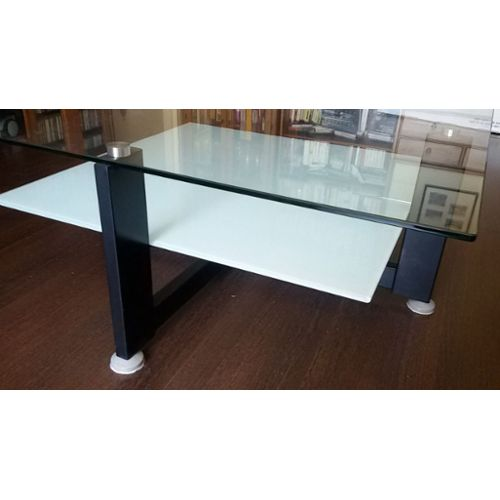 Table basse en verre double plateau