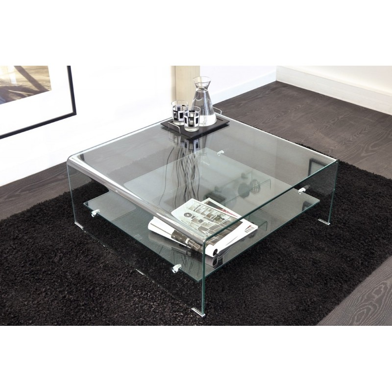 Table basse en verre carr e design mobilier design - Petite table basse verre ...