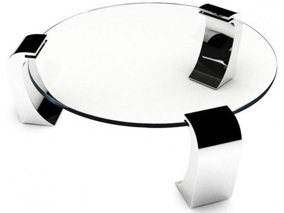 Table basse design en verre/inox jade