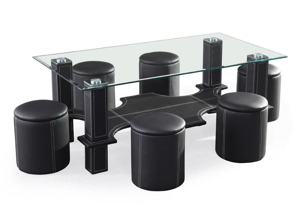 Table basse en verre avec 6 pouf