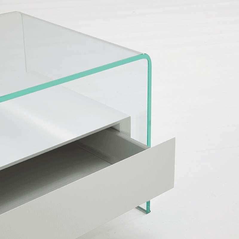 Table basse en verre avec tiroir