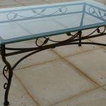 Table basse en verre fer forgé