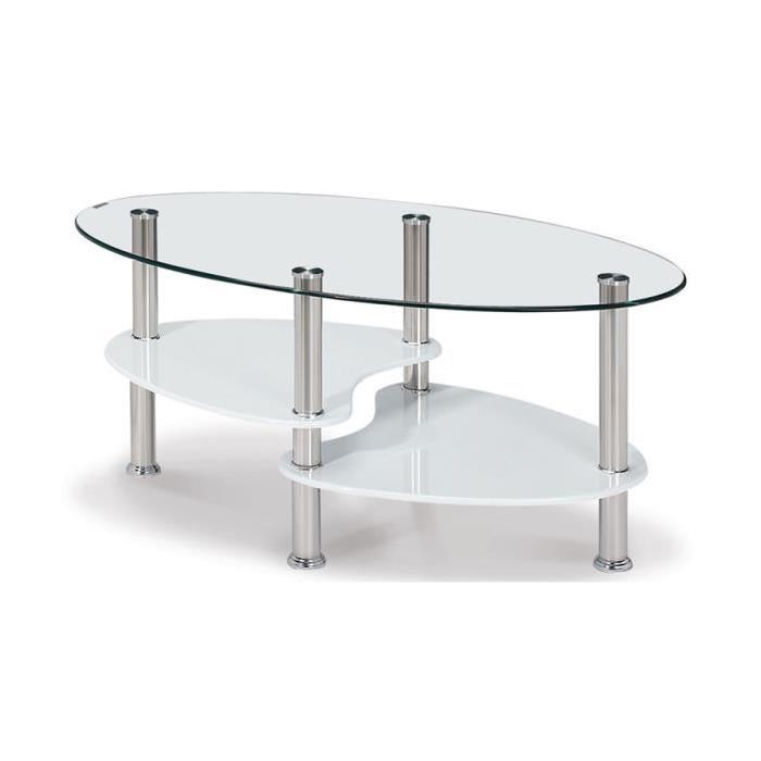 Table basse ovale en verre pas cher