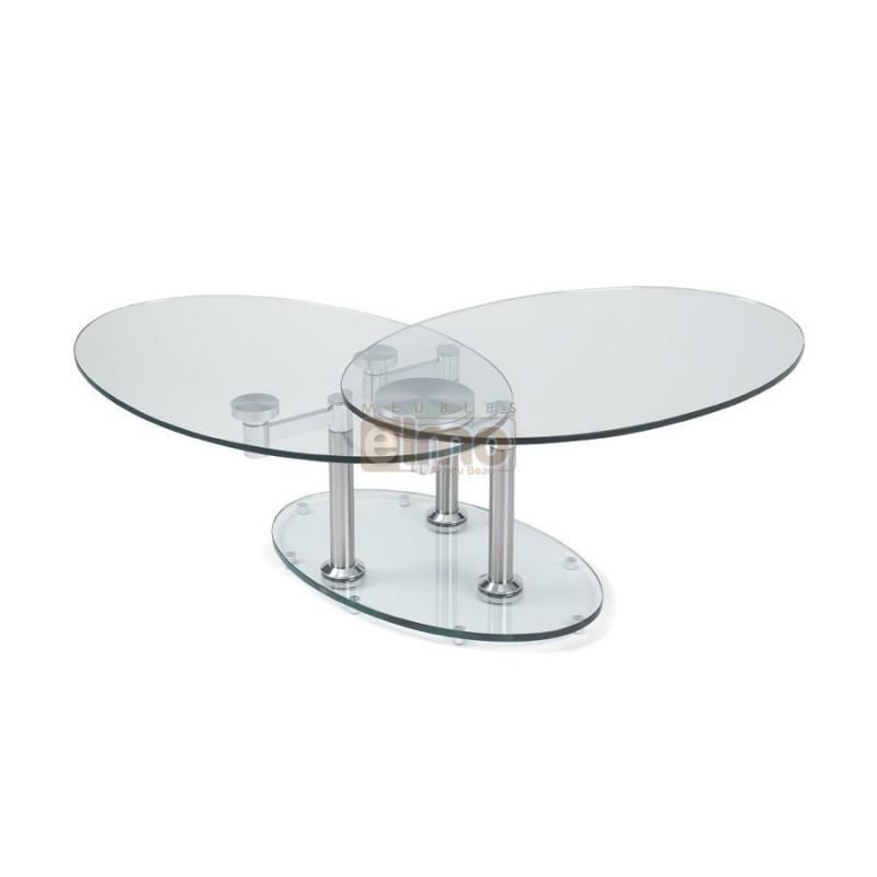 Table basse en verre extensible