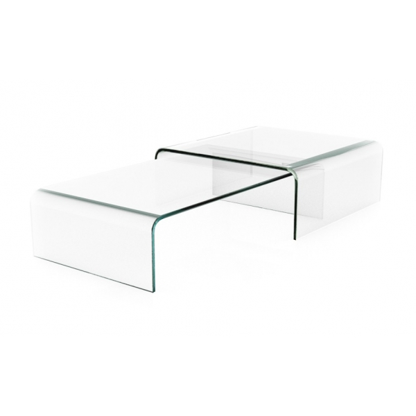 Table basse gigogne verre