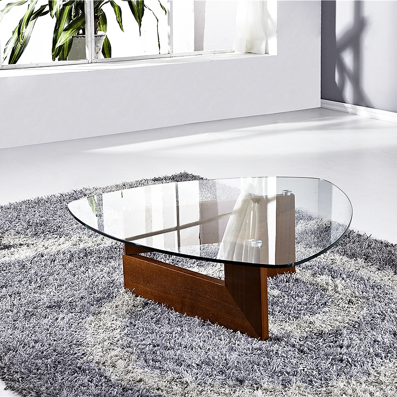 Table basse verre indy bois noyer