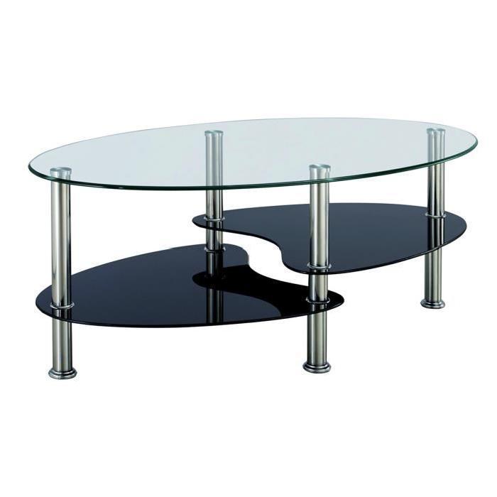 Table basse en verre trempé ovale
