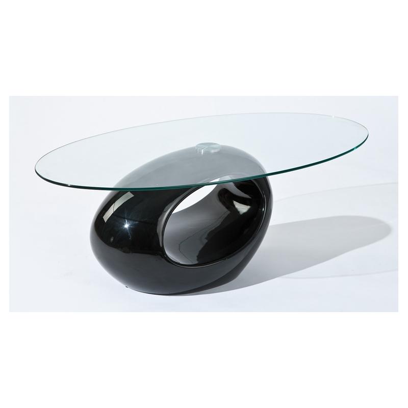 Table basse en verre noir ovale