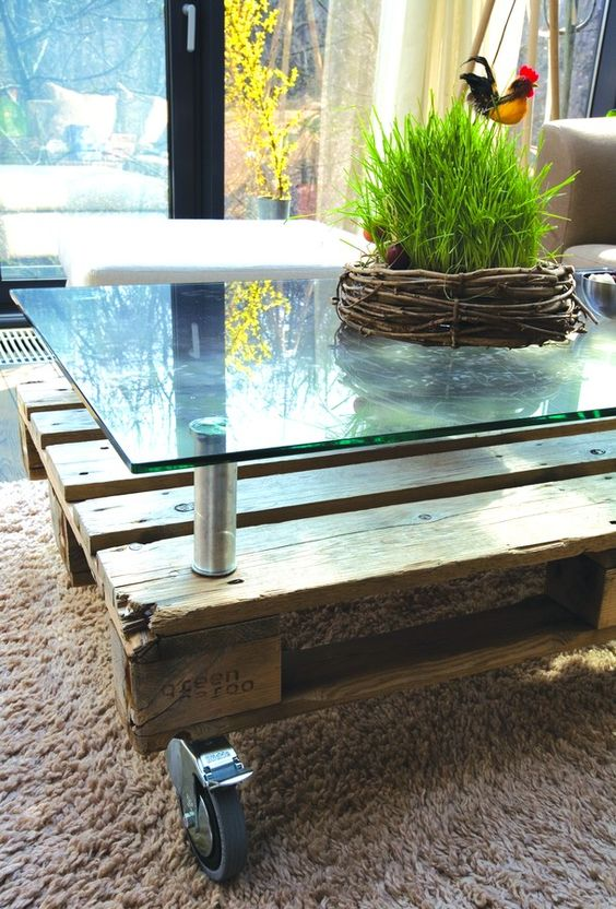 Table basse verre haricot