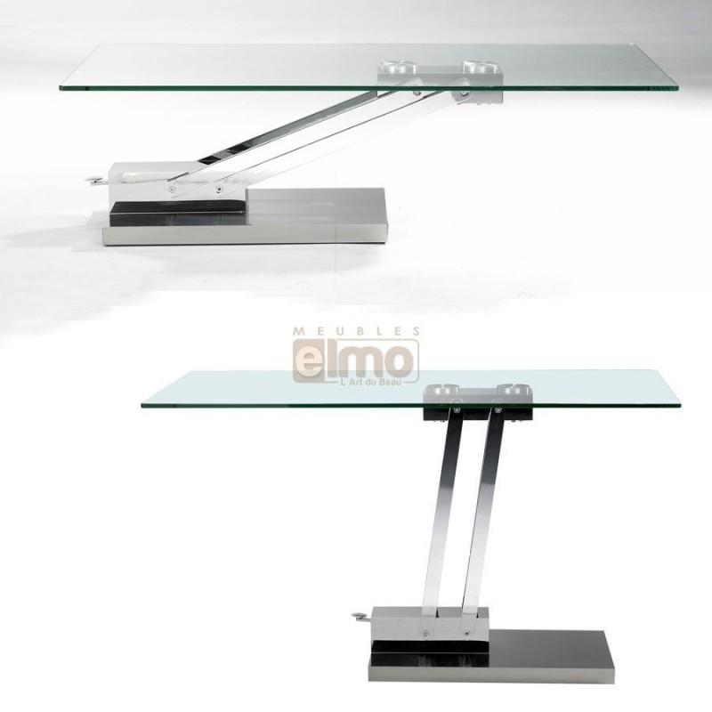 Table basse en verre réglable en hauteur
