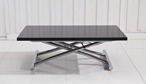Table basse relevable en verre noir