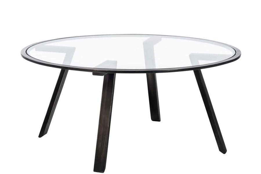 Table basse ronde plateau verre