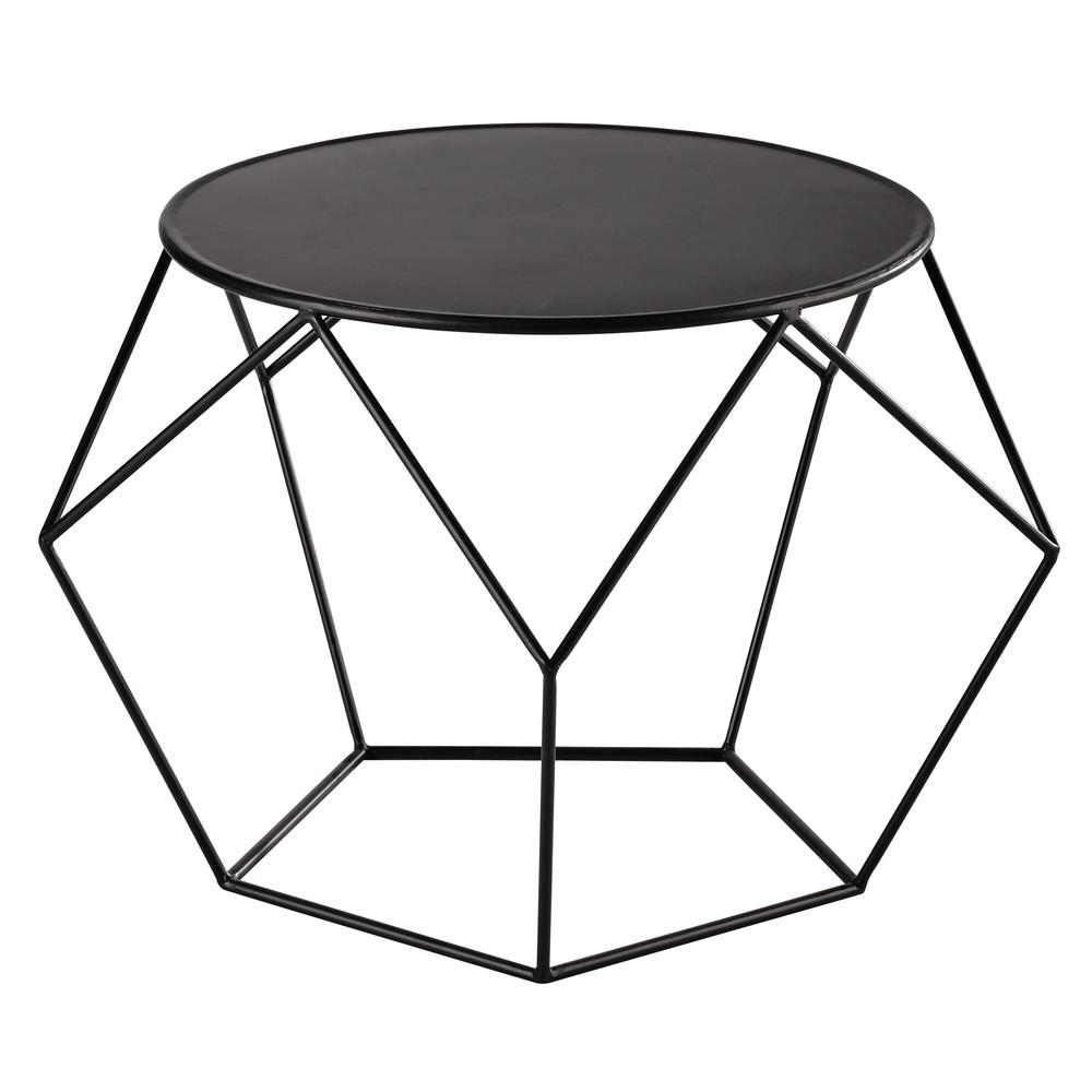 Table basse ronde en metal noir