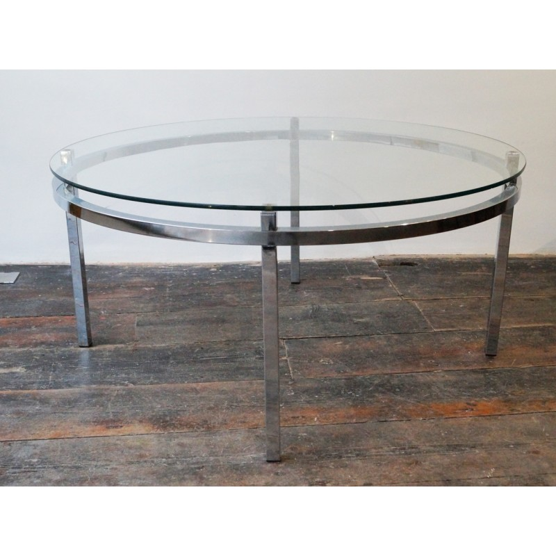 Table basse ronde en verre vintage