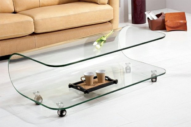 Table basse en verre de salon