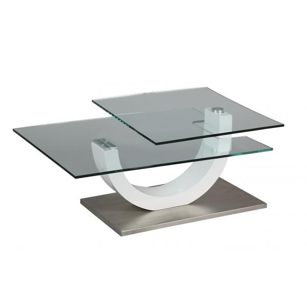 Table basse en verre plateau pivotant