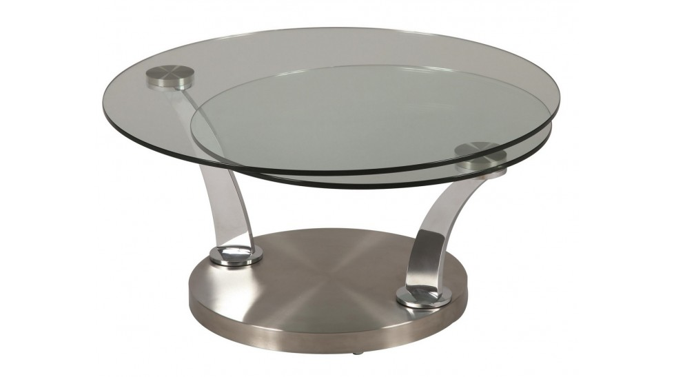 Table basse ronde plateau pivotant
