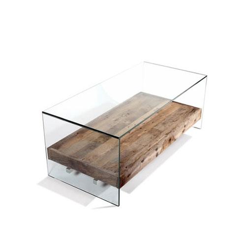 Table basse en verre et bois