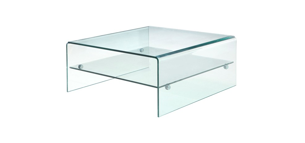 Table basse en verre carr e design mobilier design - Table italienne en verre ...