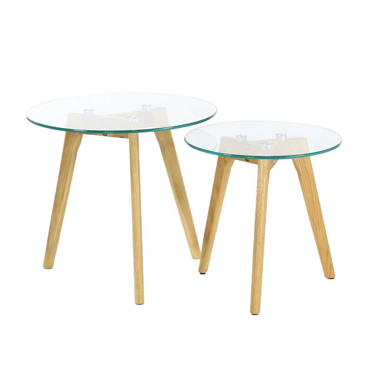 Table basse gigogne verre et bois