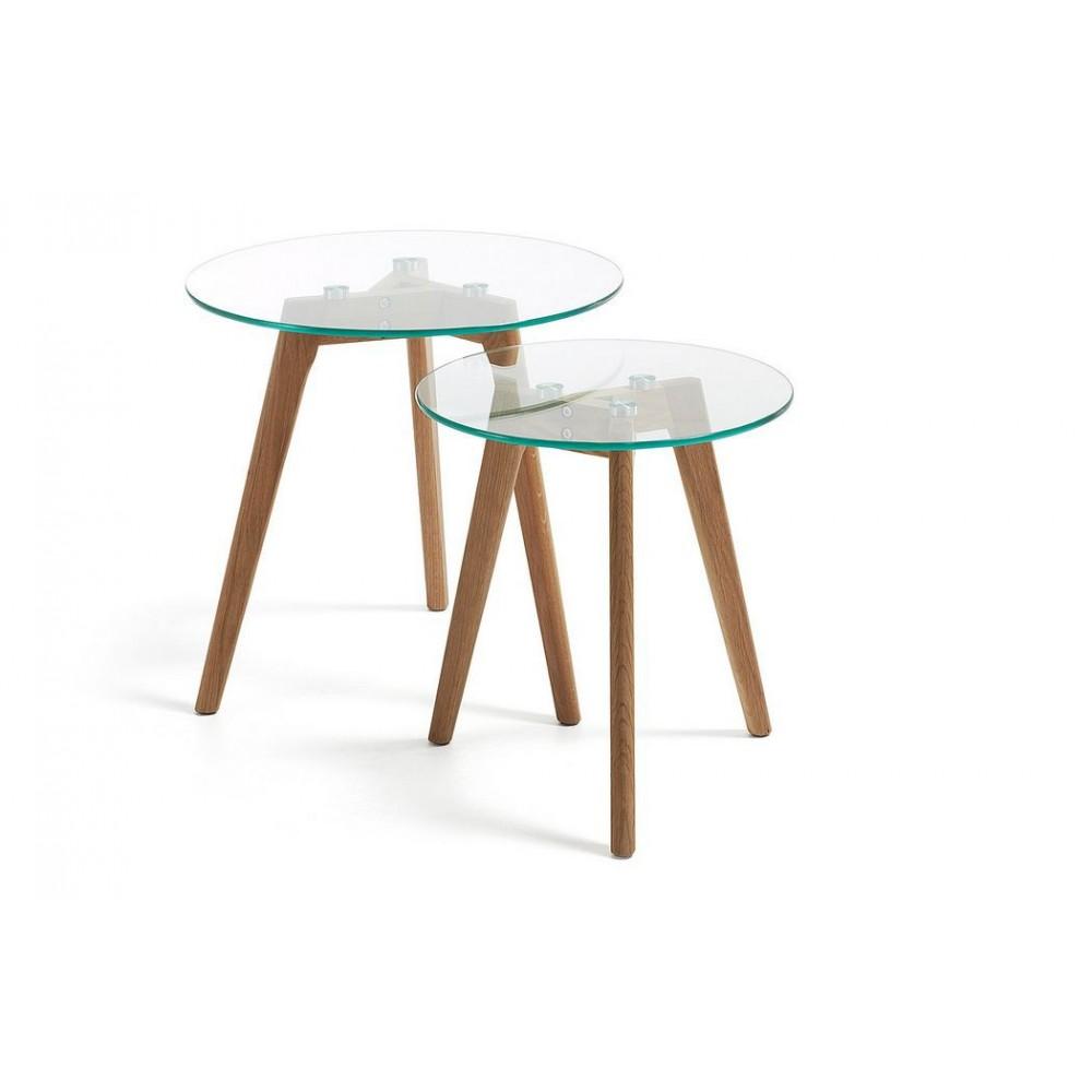 Table Basse Gigogne Verre Et Bois Mobilier Design Decoration D