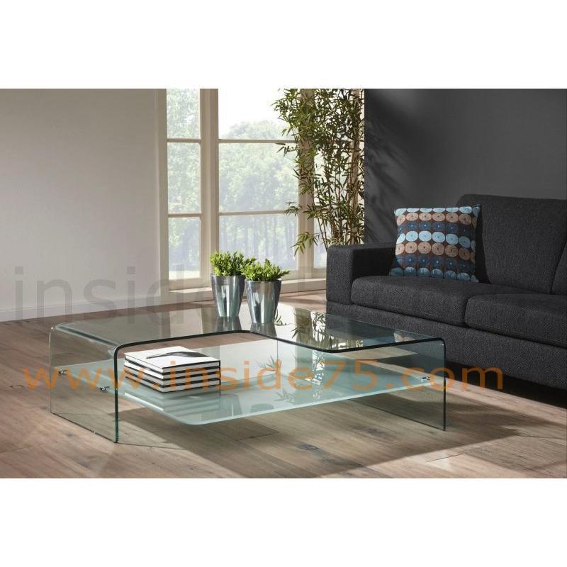 Table basse en verre splash mobilier design d coration for Table extensible tournante