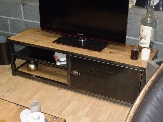meuble tv industriel bois metal pas cher mobilier design. Black Bedroom Furniture Sets. Home Design Ideas