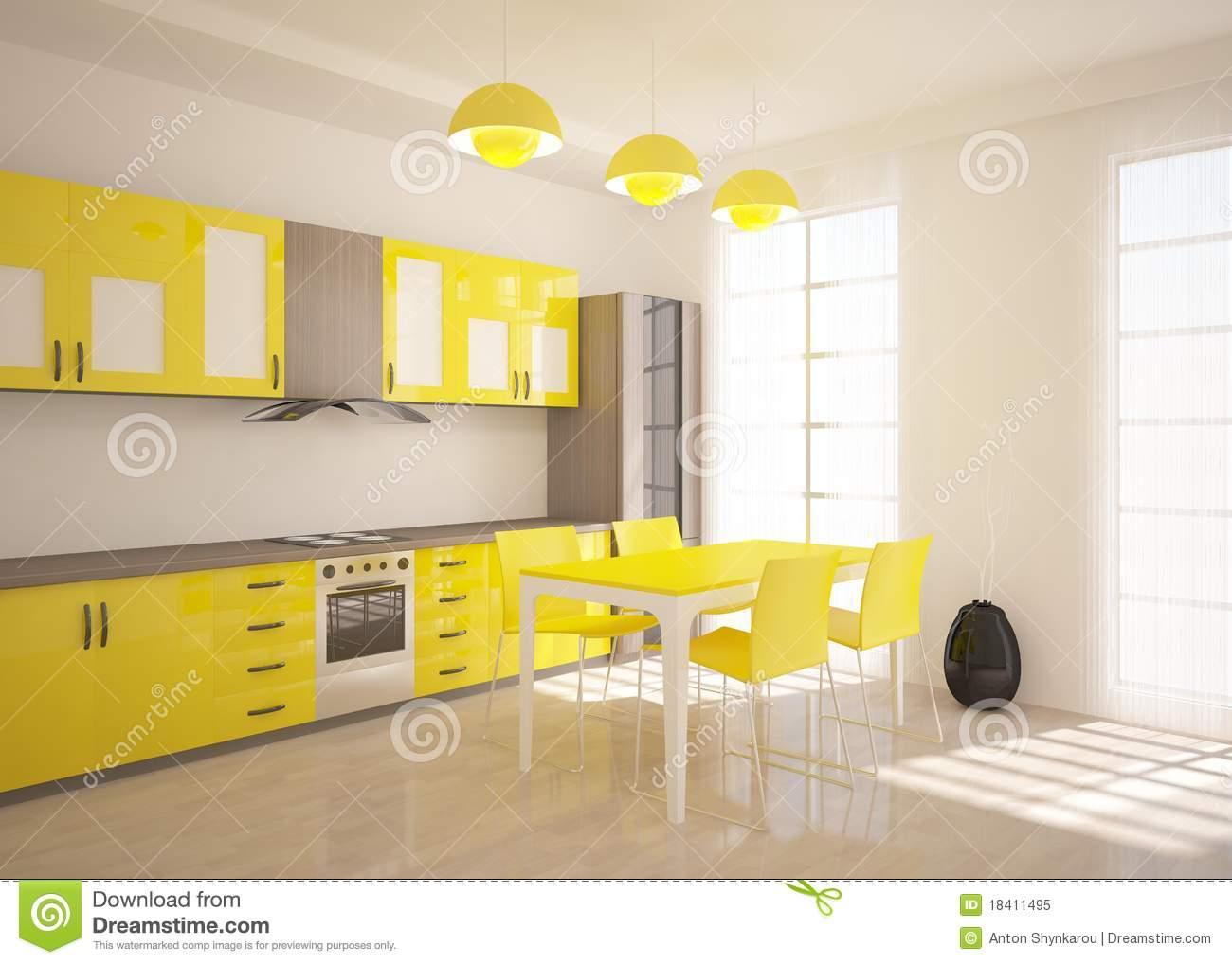 Meuble de cuisine jaune - Mobilier design, décoration d\'intérieur